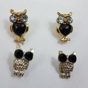 Owl Earrings 2 Pair Gold Tone Black Silver Dainty
